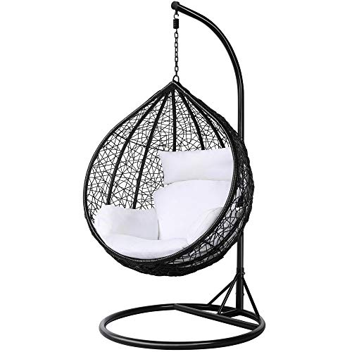 Yaheetech Garden Patio Rattan Swing Chair Wicker Hanging Egg Chair Hammock w/Cushion and Cover Indoor or Outdoor---Max.150kg Black
