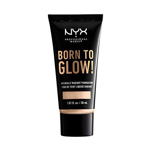 NYX Professional Makeup Base de Maquillaje Born to Glow Radiant Foundation, Acabado Radiante, Cobertura Media Modulable, Fórmula Vegana, Tono: Fair