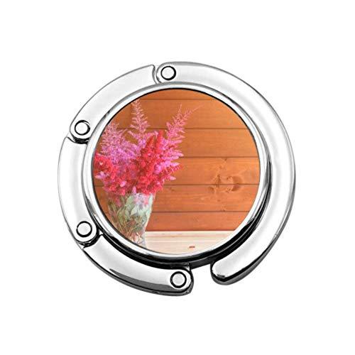 Geldbörsenhaken Rot Rosa Schöne Astilbe Blumen Glas Faltbare Handtasche Tisch Kleiderbügel Tasche Kleiderbügel Sammlung Schreibtischhaken