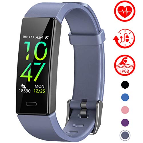 Mgaolo Fitness Tracker with Blood Pressure Heart Rate Sleep Monitor,10 Sport Modes IP68 Waterproof Activity Tracker Fit Smart Watch with Pedometer Calorie Step Counter for Women Men Kids (Gray)