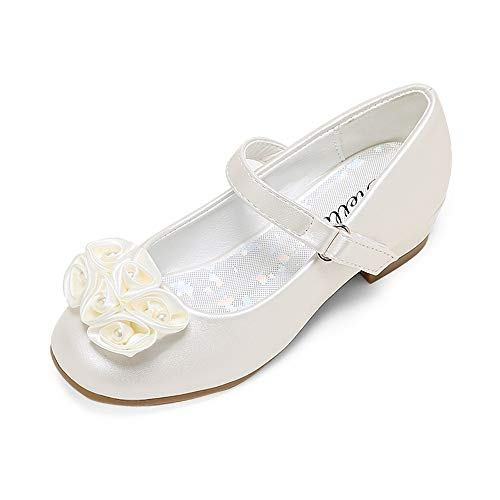 STELLE Girls Mary Jane Flats Low Heel Party Dress Shoes for Kids Flower Girls (T10-CP, 12ML)