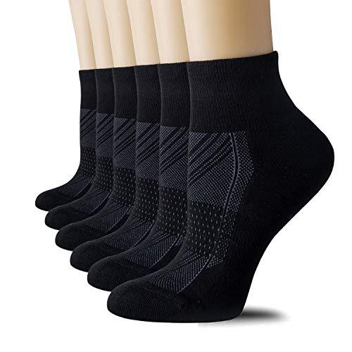 CelerSport 6 Pack Women's Ankle Socks with Cushion, Sport Athletic Running Socks, 6 Pair Black, Small