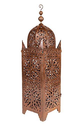 Orientalische rostige Laterne aus Metall Frane 105cm groß | Marokkanische Rost Gartenlaterne für draußen, oder Innen als Bodenlaterne | Marokkanisches Gartenwindlicht hängend oder zum hinstellen