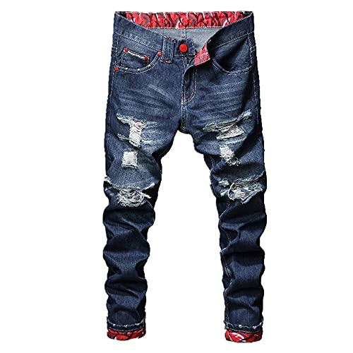 N\P Pantalones de parche rasgados de corte ajustado para adolescentes