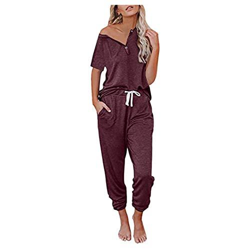 BIBOKAOKE Chándal para mujer, chándal de 2 piezas, camiseta de manga corta, pantalones largos, informales, chándal de un solo color, ropa deportiva con cordón