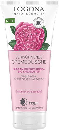 LOGONA Naturkosmetik Verwöhnende Duschcreme Bio-Damaszner Rose & Bio-Sheabutter, Natürliche sanfte Reinigung, 200 ml