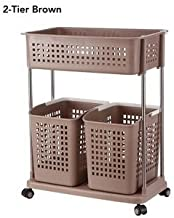 House of Quirk 2 Tier and 3 Basket Laundry Cart Large Capacity Basket Trolley for Bathroom Kitchen Garage Or More - Brown
