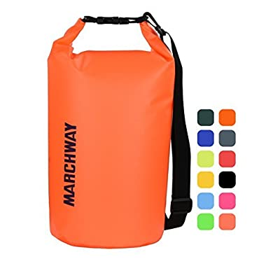 MARCHWAY Floating Waterproof Dry Bag 5L/10L/20L/30L, Roll Top Sack Keeps Gear Dry for Kayaking, Rafting, Boating, Swimming, Camping, Hiking, Beach, Fishing (Orange, 5L)