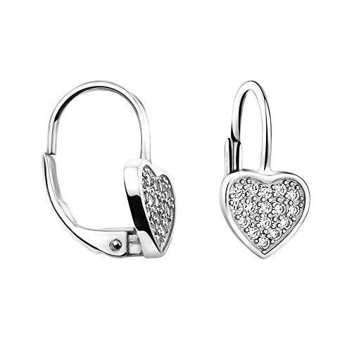 SOFIA MILANI - Damen Ohrringe 925 Silber - mit Zirkonia Steinen - Herz Ohrhänger - 20696