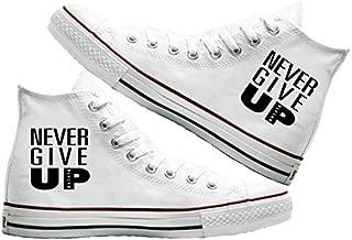 Art T-Shirt -Never Give Up Baskılı Unisex Canvas Ayakkabı