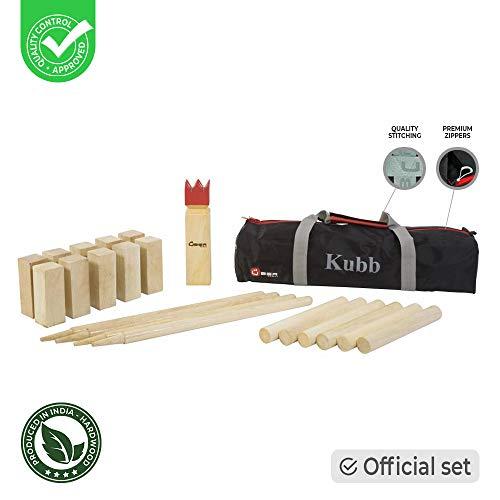 Kubb Original Outdoorspiel - Top Qualität ECO Hartholz - Wurfspiel für draußen (30cm)