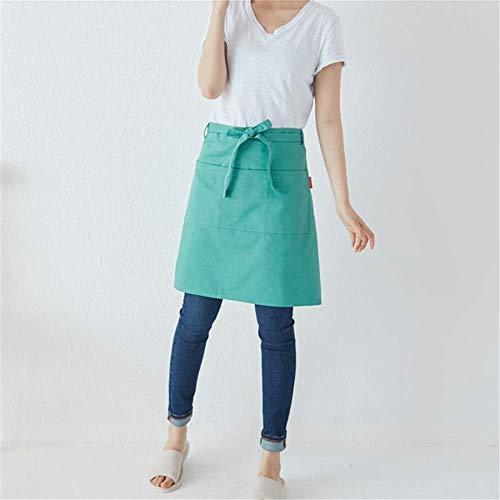 YXDZ Kurze Halbe Länge Baumwolle Japanisch Koreanisch Café Blume Kunst Kellner Milch Tee Bäckerei Schürze Taille Hellgrün