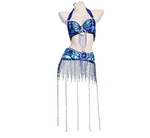 Rongg Profesional Disfraces de Danza del Vientre para Mujeres Actuación Conjunto de Baile Conjunto Hecho a Mano Sujetador y Faja Cuentas de Flecos Largos, Treasure Blue, M