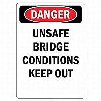 安全標識-危険標識-危険な橋の状態は避けてください。インチ金属錫標識通知警告標識屋外