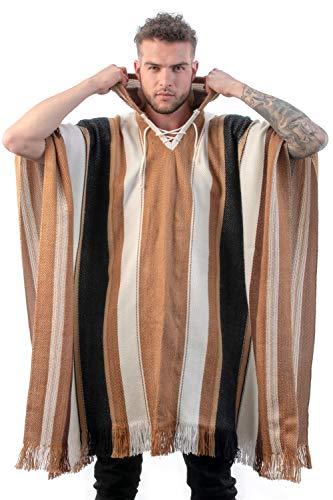 INTI ALPACA Alpaka Poncho mit Kapuze - Streifen Loden Umhang für Herren aus Alpaka Wolle- - Poncho Cape Mantel für den Winter - Brauntöne - Einheitsgröße