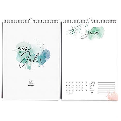 Aquarell A4 Fotokalender immerwährend Happy Splash I kreativer, hochwertiger Kunst- und Bastelkalender im Watercolor Design Idealer Jahreskalender zum selbst gestalten, basteln & verschenken