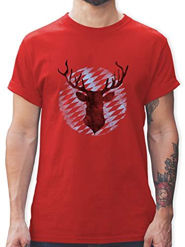 Oktoberfest & Wiesn Herren - Hirsch Bayern - XL - Rot - Trachten t-Shirt männer Hirsch - L190 - Tshirt Herren und Männer T-Shirts