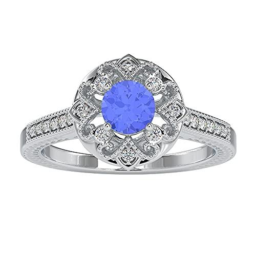 Anillo de compromiso Art Deco de 1 ct con zafiro azul y diamante para mujer (5 mm, zafiro azul de corte redondo), 14K Oro blanco, zafiro azul, Size:EU 46