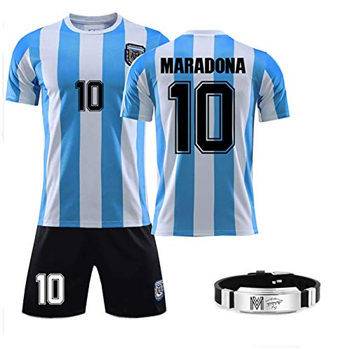 GRXIN Maradona Diego(Napoli Et Argentino) Camiseta De Fútbol 1986 Argentina World Cup Legend Camiseta De Fútbol Camiseta Retro De Secado Rápido para Aficionados,con Brazalete Maradona,L