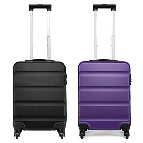Kono Luggage Sets of 2 pcs Hardside ABS Carry-on Lightweight 4 Wheeled Spinner 20 Inch (Black+Purple)