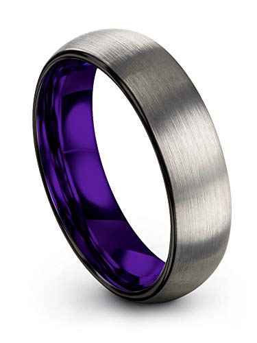 Chroma Color Collection Tungsten Carbide Wedding Band Ring 6mm for Men Women Purple Interior with Black Grey Exterior Dome Brushed Polished Comfort Fit Anniversary Size 9.5