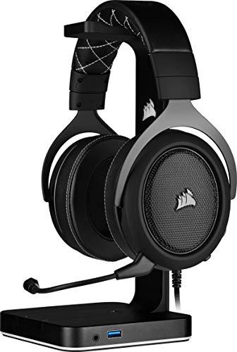 Corsair HS60 Pro Surround Auriculares para Juegos (7.1 Sonido Envolvente, Espuma viscoelástica Almohadillas, Unidireccional micrófono, Compatible con PC, PS4, Xbox One, Switch y móviles). Negro