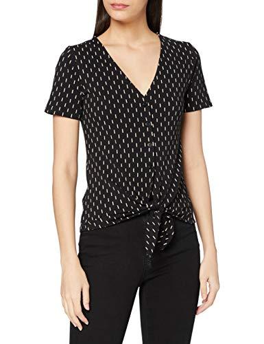 Peopletree Damen Print Top Bluse, Black, 8