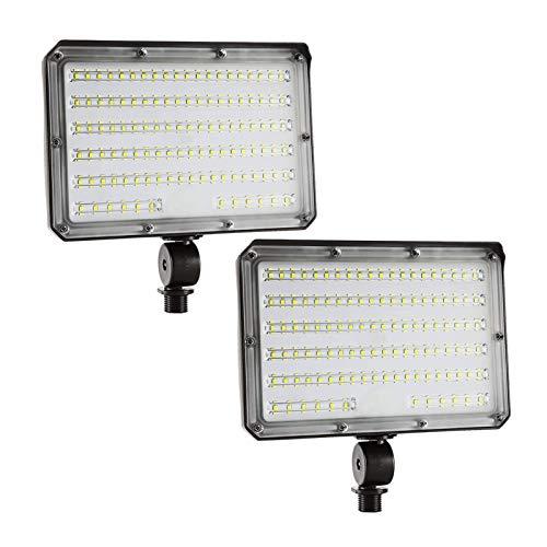 80W LED Flood Light Outdoor, LED Flood Lights with Knuckle Mount 10400lm (800W Equivalent), IP65 Waterproof 5000K Daylight for Yard Garden Garage ETL Listed 2 Pack