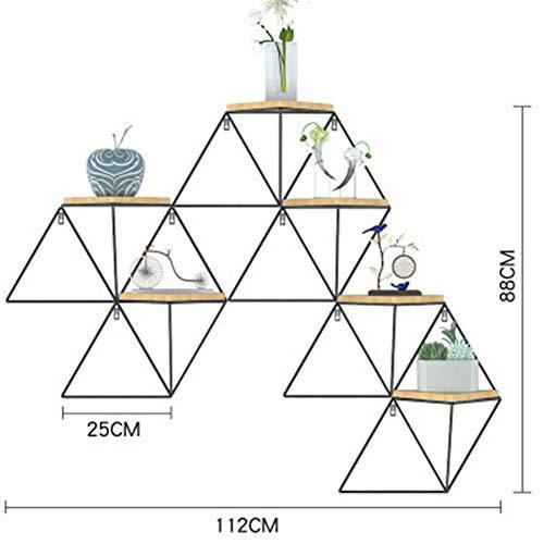 TINE Montaje Nordic salón de Estilo Barra de Pared de Hierro Forjado Pared de estantería estantería de Rejilla geométrico (Tres Dimensiones),112 * 25 * 88cm