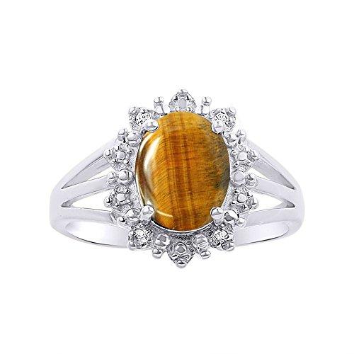 Juego de anillos de ojo de tigre en plata de ley 925, diseño elegante de Halo Princesa Diana