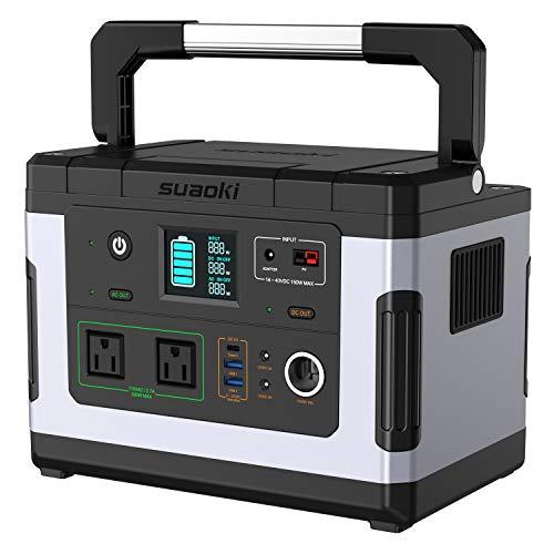 suaoki ポータブル電源 G500 137700mAh/500Wh 家庭用蓄電池 PSE認証済み 純正弦波 液晶大画面表示 三つの充電方法 ソーラー充電 ACコンセント(300W 瞬間最大600W) DC/USB/Type-Cなど出力 急速充電QC3.