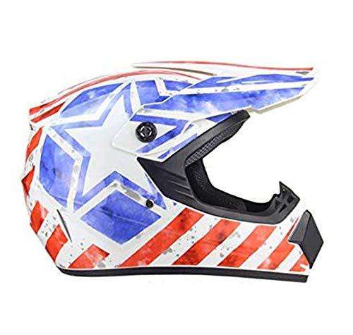 DBSCD Motorrad Integral Helm, Rot Blau Und Brille Herren mit, Skate Road Off Road...