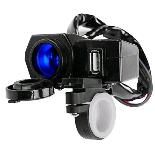 Foxnovo Impermeabile 12V moto manubrio montare accendisigari 2.1 a USB Power Port presa presa Combo per iPad iPhone Cellphone GPS (nero)