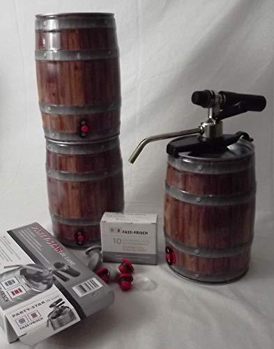 Fass-Frisch 3 Leere (5 Liter) Partyfässer mit Stopfen, inkl. Zapfgerät Party Star de Luxe und 10 CO² Kartuschen, für Ihr selbstgebrautes Bier