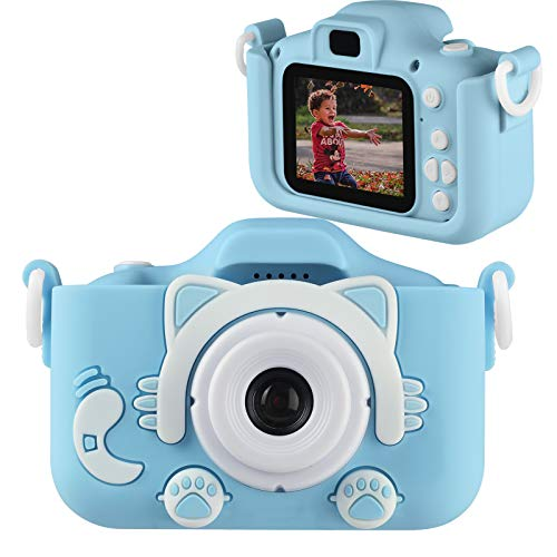 Enouvos Kid Cameras Girls Best Gifts Pink Camera Upgrade HD 2.0 Inches Screen Kids Video Camera Anti-Drop Children Toy Camera Mini Cartoon Child Camcorder for 3-14-Year-Old (Blue)
