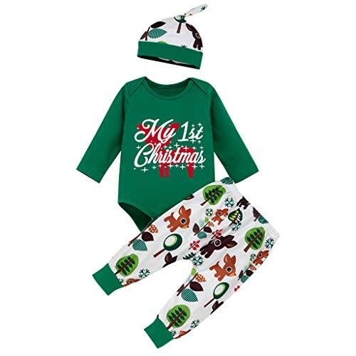SUMTTER Weihnachten Baby Kleidung Set Christmas Cosplay Kostüm für Neugeborenes Jungen Mädchen Baby Strampler + Stirnband + Hose + Hut Outfits Set (Grün/Elk, 6-12 Monate / 80)