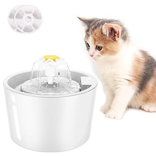 Fuente de Agua para Gatos, Dispensador de Agua para Perros, 【Upgrade】Fuente Para Beber Automática Súper Silenciosa de 1.6L para Mascotas con Función de Sensor Infrarrojo (incluye 2 filtros) (Blanco)