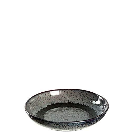 Leonardo Teller Matera 6-er Set, 20,7 cm, 6 Tiefe Keramik Teller, spülmaschinengeeignet, mit Glasur, anthrazit, 018562