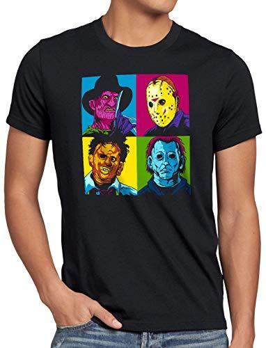style3 Pop-Art Grusel Herren T-Shirt Freddy Jason Michael Leatherface Warhol, Größe:XL, Farbe:Schwarz