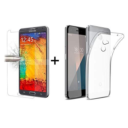TBOC® Pack: Transparent Gel TPU Hülle + Hartglas Schutzfolie für Vodafone Smart N8 (5.0 Zoll) - Superdünn Flexibel Silikonhülle. Panzerglas Bildschirmschutz in Kristallklar in hohe Qualität.