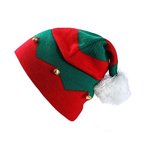 JERKKY Santa Cap 1 Piece Toddler Kids Christmas Knitted Elf Hat con pequeñas Campanas Contraste Color Wavy Stripes Crochet Santa Cap Party Supplies
