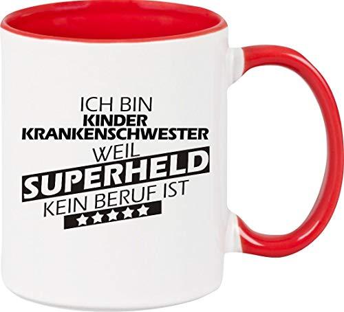 Shirtstown Kaffeepott Ich Bin Kinderkrankenschwester, Weil Superheld kein Beruf ist, Tasse Pott Kaffeetasse Teetasse Spruch Sprüche Logo, Farbe, rot