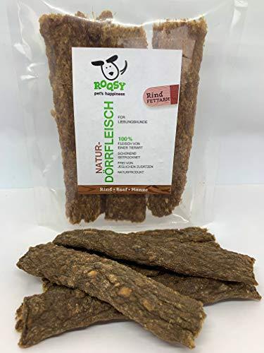 ROQSY Natur-Dörrfleisch 100% RIND Jerky Kaufleisch Hundesnack Kaustreifen Leckerli Kaustangen schonend getrocknet 100g