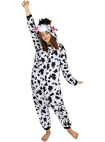 Funidelia | Disfraz de Vaca Onesie para Hombre y Mujer Talla XL ▶ Animales, Granja - Color: Blanco - Divertidos Disfraces y complementos para Carnaval y Halloween