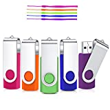 32GB Unidad Flash USB, Cardfuss 5Pack USB2.0 Memory Stick Swivel Thumb Drives USB Stick Jump Drive Pen Drive Almacenamiento de Datos con indicador LED (Multicolor con Cuerdas de Seguridad)