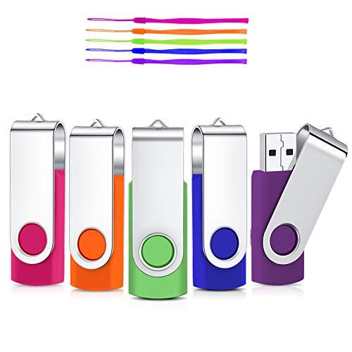 32GB 5 Stück USB StickCardfuss USB2.0 Speicherstick USB-Flash-Laufwerk Rotate Thumb Drives Memory Stick mit LED-Anzeige (Mehrfarbig mit Lanyard)