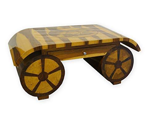 Antike Fundgrube Tisch Couchtisch Wohnzimmertisch Verschiedene Hölzer Wagenmotiv (2943)