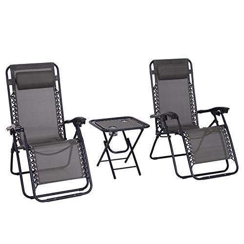Outsunny Lot de 2 chaises Longues Pliables zéro de gravité Dossier inclinable Table d'appoint Acier Gris