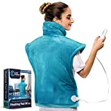 Cure Choice XL Electric Heating Pad for Back Pain Relief, Ultra Soft 24'x33' Heating pad for Muscle Cramps – Heated Pad with Adjustable Temperature Settings, Safe Auto Shut (Blue)
