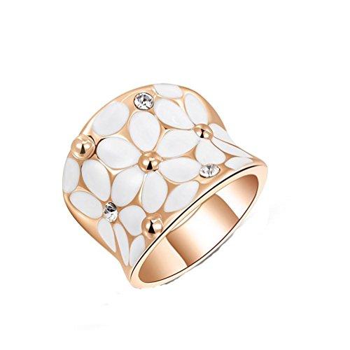 HFJ&YI&H Cristalli austriaci 18K rosa/bianco placcato oro bianco fiore partito anello , 7